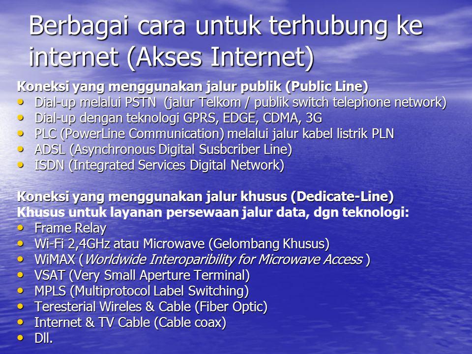 Berbagai cara untuk terhubung ke internet (Akses Internet) Koneksi yang menggunakan jalur publik (Public Line) Dial-up melalui PSTN (jalur Telkom / pu