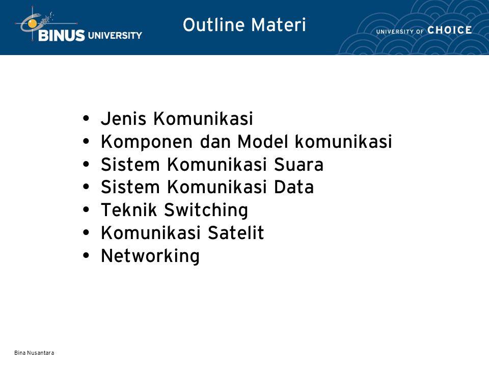 Bina Nusantara Outline Materi Jenis Komunikasi Komponen dan Model komunikasi Sistem Komunikasi Suara Sistem Komunikasi Data Teknik Switching Komunikas