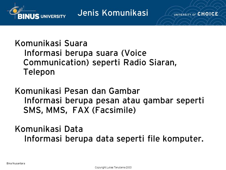 Bina Nusantara Komponen Sistem Komunikasi Sumber (Transmitter) Medium (Communication Line) Penerima (Receiver) Jaringan (Communication Networks) Protokol (Communication Rules) Copyright Lukas Tanutama 2003