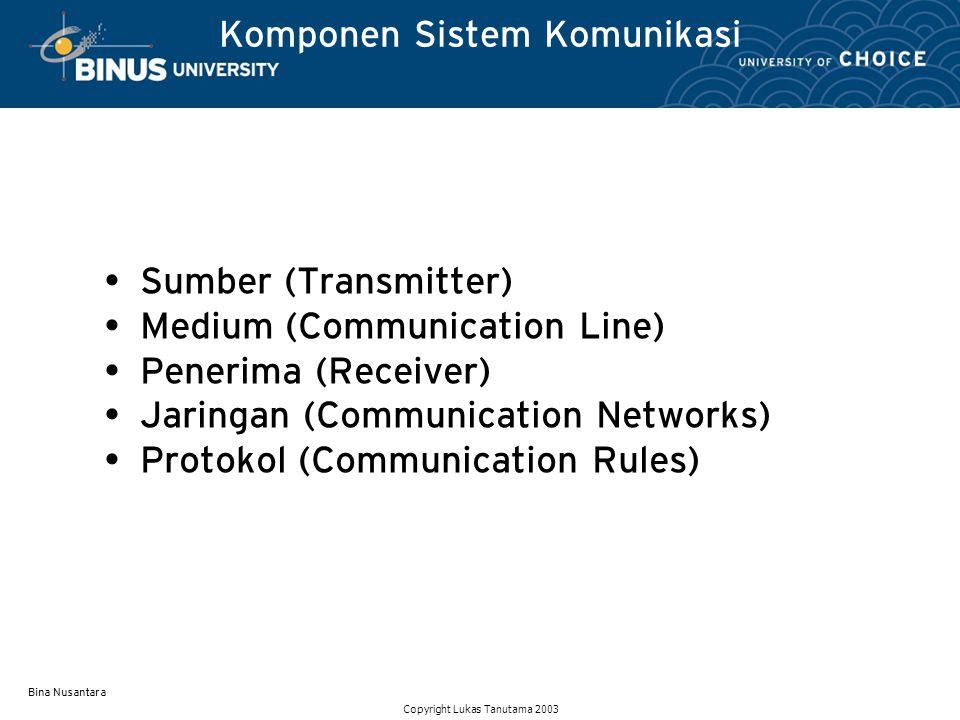 Bina Nusantara Komponen Sistem Komunikasi Sumber (Transmitter) Medium (Communication Line) Penerima (Receiver) Jaringan (Communication Networks) Proto