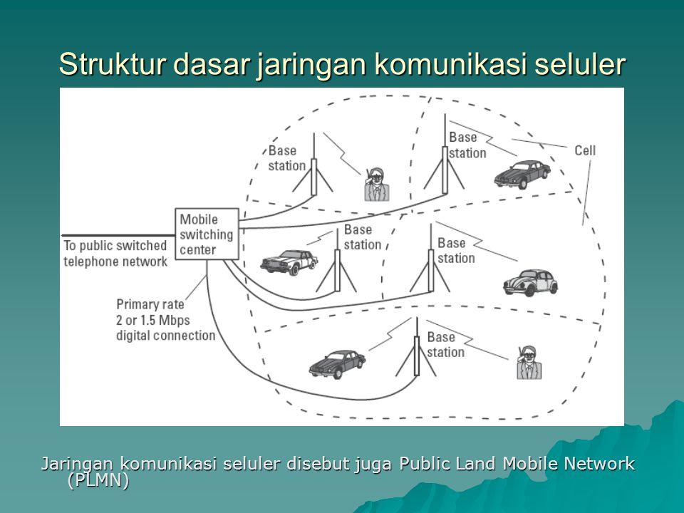 Struktur dasar jaringan komunikasi seluler Jaringan komunikasi seluler disebut juga Public Land Mobile Network (PLMN)