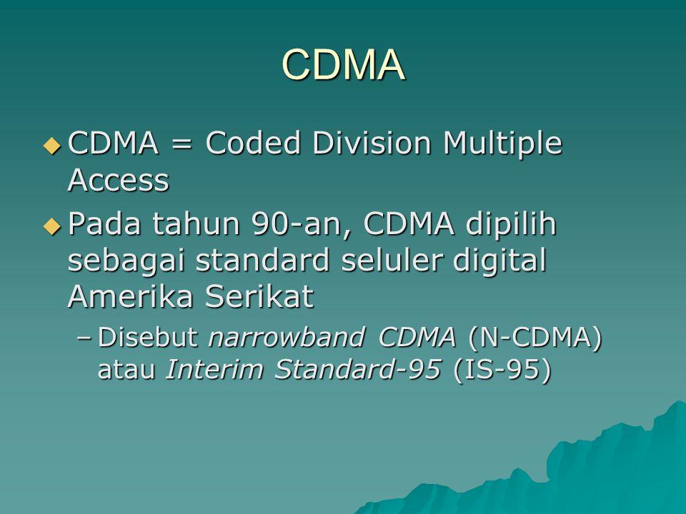 CDMA  CDMA = Coded Division Multiple Access  Pada tahun 90-an, CDMA dipilih sebagai standard seluler digital Amerika Serikat –Disebut narrowband CDM