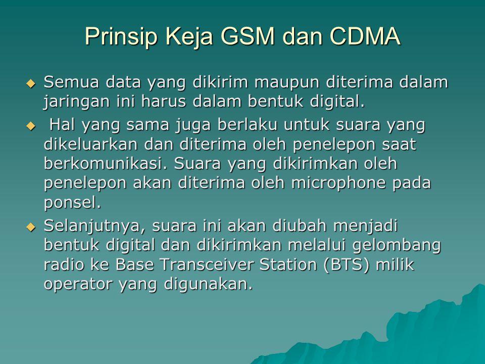 Prinsip Keja GSM dan CDMA  Semua data yang dikirim maupun diterima dalam jaringan ini harus dalam bentuk digital.  Hal yang sama juga berlaku untuk