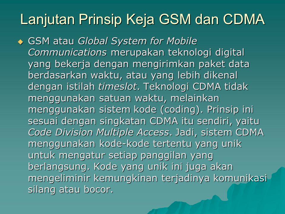  GSM atau Global System for Mobile Communications merupakan teknologi digital yang bekerja dengan mengirimkan paket data berdasarkan waktu, atau yang