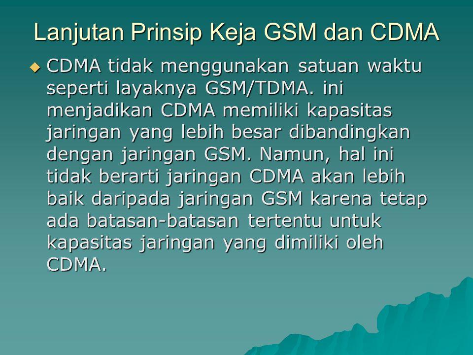  CDMA tidak menggunakan satuan waktu seperti layaknya GSM/TDMA. ini menjadikan CDMA memiliki kapasitas jaringan yang lebih besar dibandingkan dengan