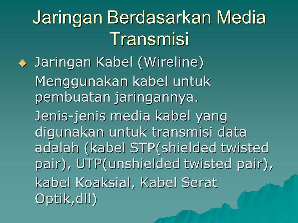 Jaringan Berdasarkan Media Transmisi  Jaringan Kabel (Wireline) Menggunakan kabel untuk pembuatan jaringannya. Jenis-jenis media kabel yang digunakan