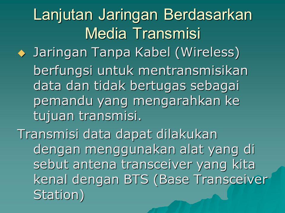 Lanjutan Jaringan Berdasarkan Media Transmisi  Jaringan Tanpa Kabel (Wireless) berfungsi untuk mentransmisikan data dan tidak bertugas sebagai pemand