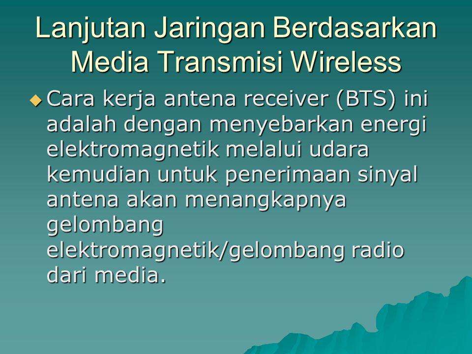 Lanjutan Jaringan Berdasarkan Media Transmisi Wireless  Cara kerja antena receiver (BTS) ini adalah dengan menyebarkan energi elektromagnetik melalui