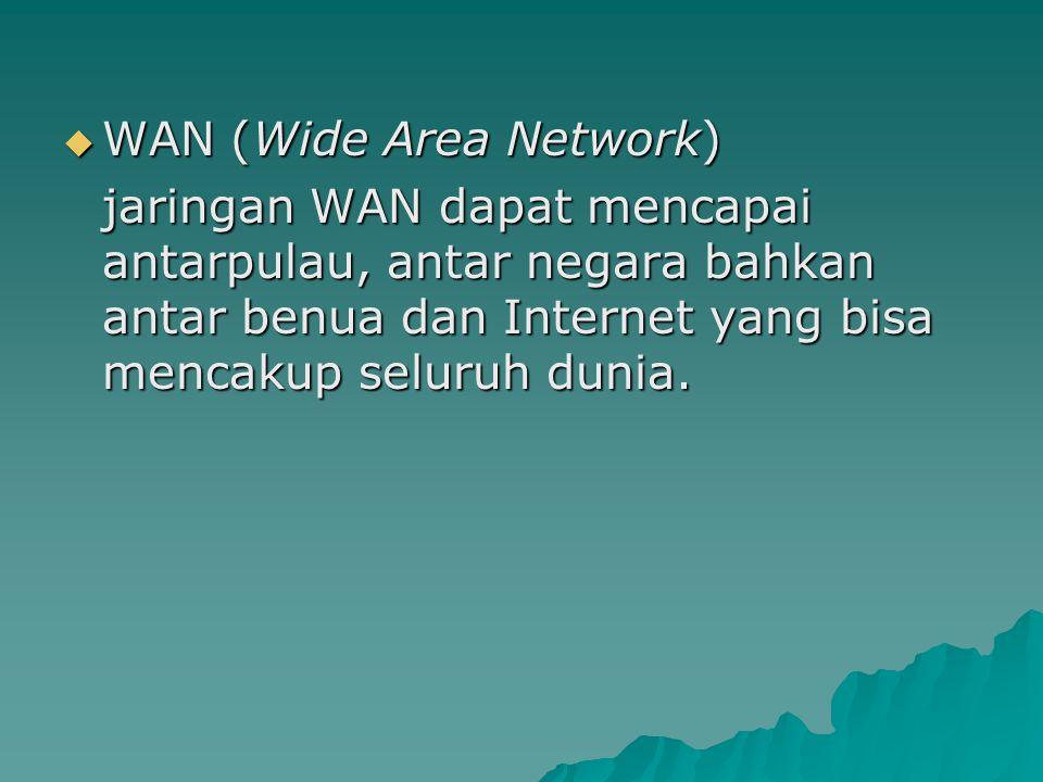  WAN (Wide Area Network) jaringan WAN dapat mencapai antarpulau, antar negara bahkan antar benua dan Internet yang bisa mencakup seluruh dunia.