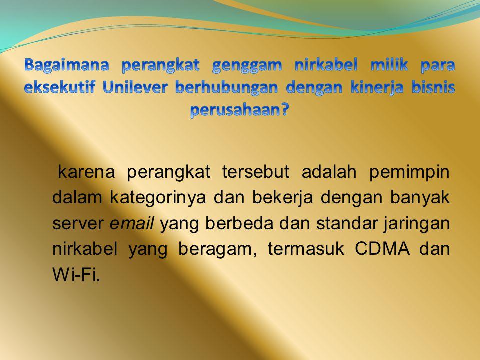 karena perangkat tersebut adalah pemimpin dalam kategorinya dan bekerja dengan banyak server email yang berbeda dan standar jaringan nirkabel yang beragam, termasuk CDMA dan Wi-Fi.