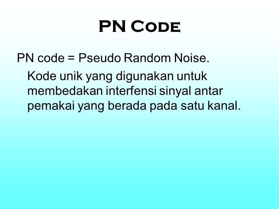 PN Code PN code = Pseudo Random Noise. Kode unik yang digunakan untuk membedakan interfensi sinyal antar pemakai yang berada pada satu kanal.