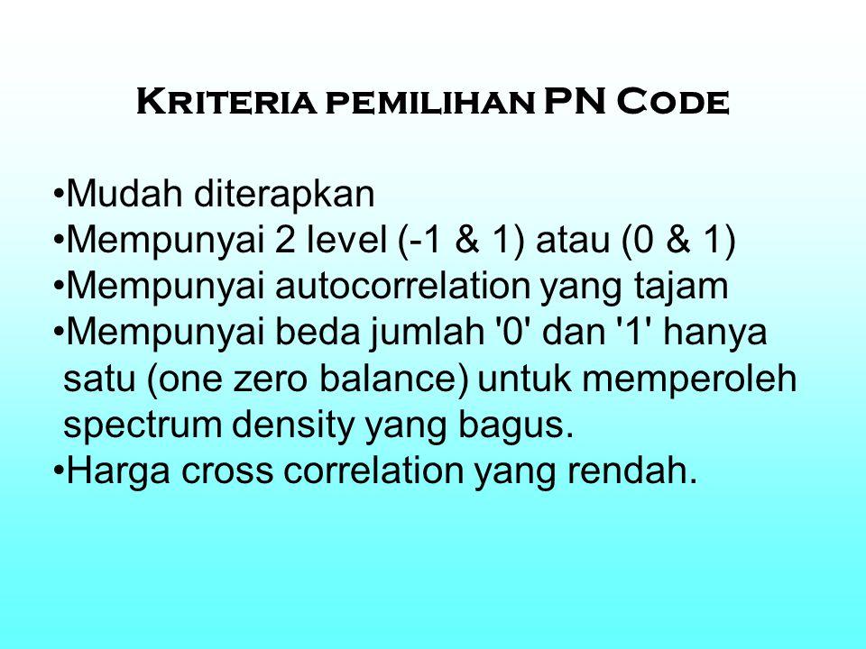 Kriteria pemilihan PN Code Mudah diterapkan Mempunyai 2 level (-1 & 1) atau (0 & 1) Mempunyai autocorrelation yang tajam Mempunyai beda jumlah '0' dan