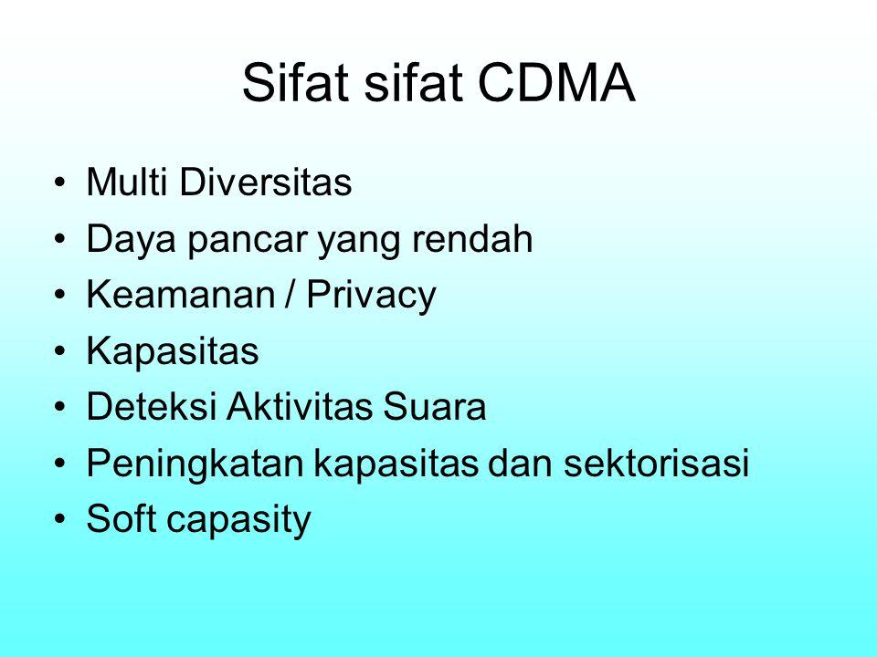 Sifat sifat CDMA Multi Diversitas Daya pancar yang rendah Keamanan / Privacy Kapasitas Deteksi Aktivitas Suara Peningkatan kapasitas dan sektorisasi S