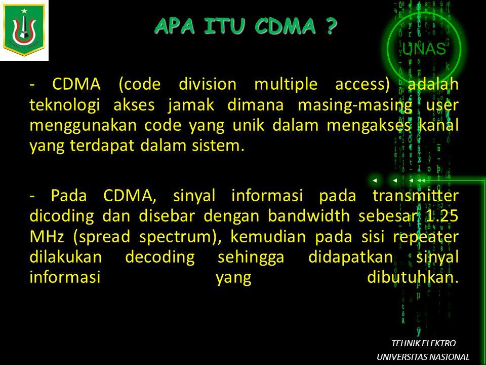 UNAS TEHNIK ELEKTRO UNIVERSITAS NASIONAL APA ITU CDMA ? - CDMA (code division multiple access) adalah teknologi akses jamak dimana masing-masing user