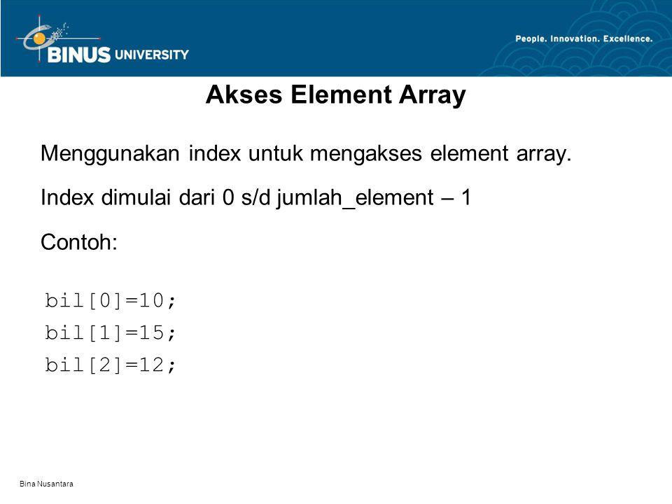 Bina Nusantara Akses Element Array Menggunakan index untuk mengakses element array.