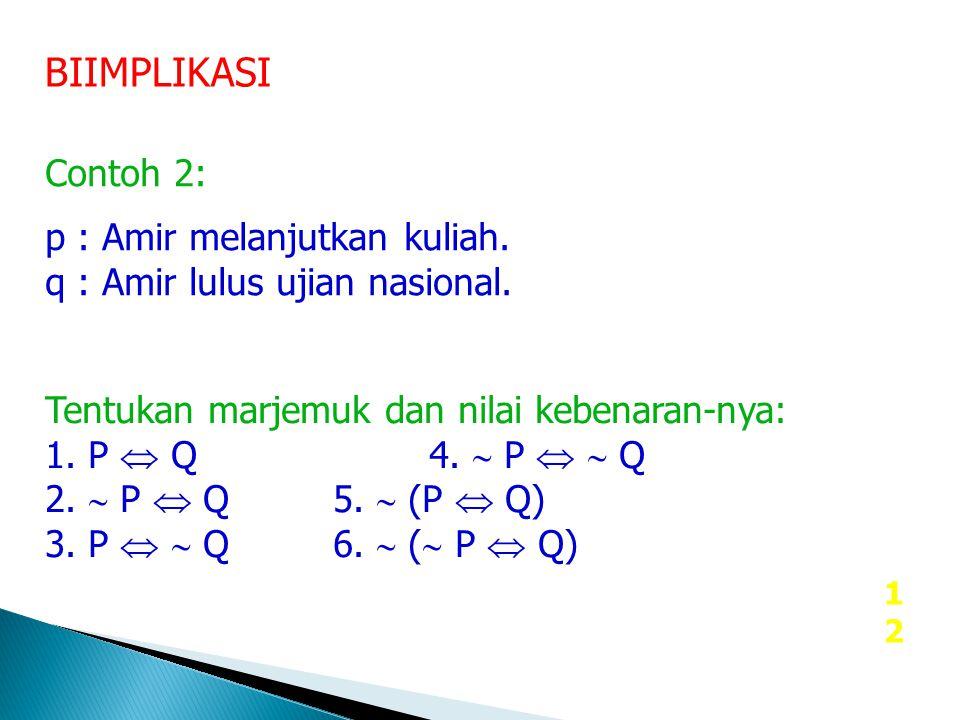 12 BIIMPLIKASI Contoh 2: p : Amir melanjutkan kuliah. q : Amir lulus ujian nasional. Tentukan marjemuk dan nilai kebenaran-nya: 1. P  Q4.  P   Q 2