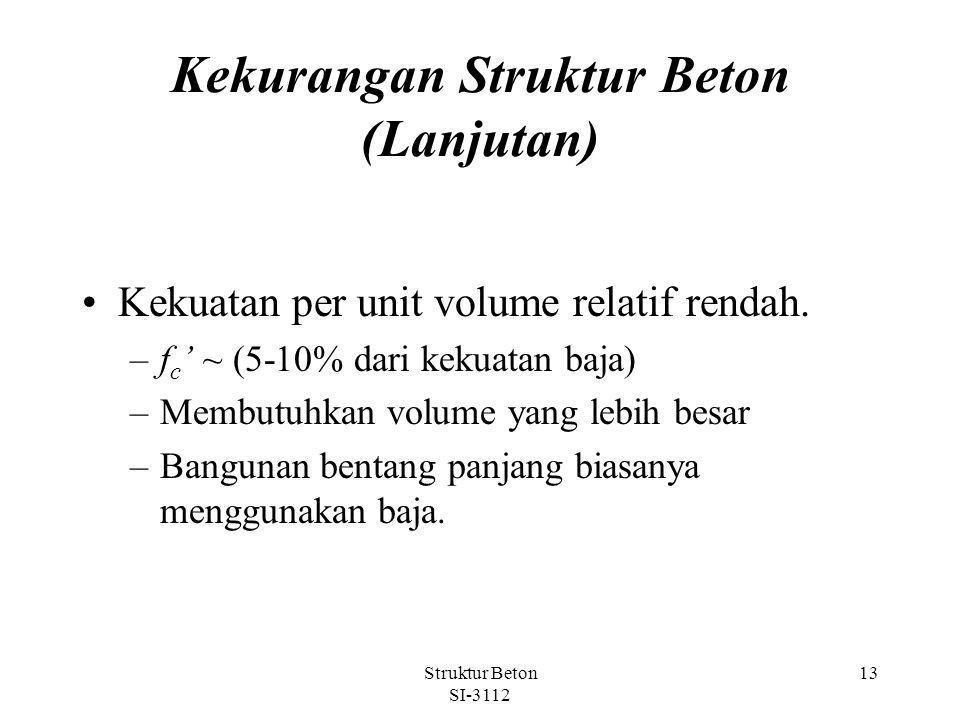 Struktur Beton SI-3112 13 Kekurangan Struktur Beton (Lanjutan) Kekuatan per unit volume relatif rendah.