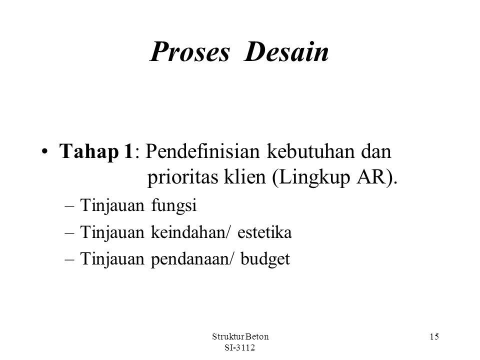 Struktur Beton SI-3112 15 Proses Desain Tahap 1: Pendefinisian kebutuhan dan prioritas klien (Lingkup AR).