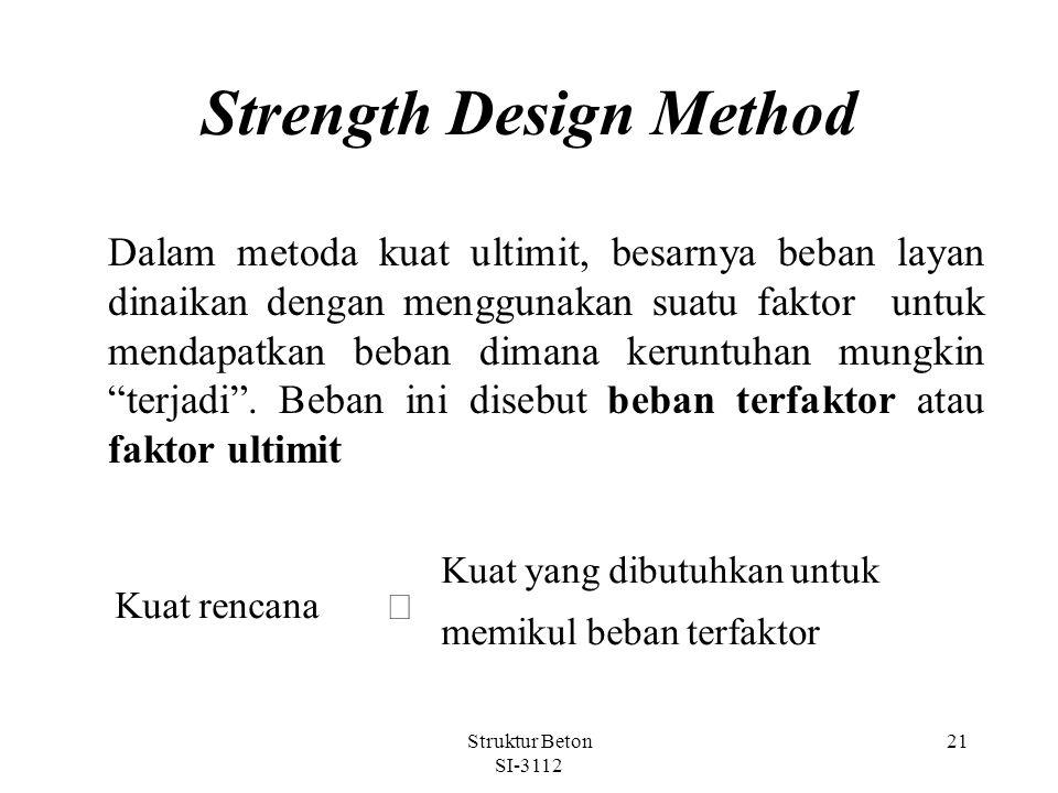 Struktur Beton SI-3112 21 Strength Design Method Dalam metoda kuat ultimit, besarnya beban layan dinaikan dengan menggunakan suatu faktor untuk mendapatkan beban dimana keruntuhan mungkin terjadi .