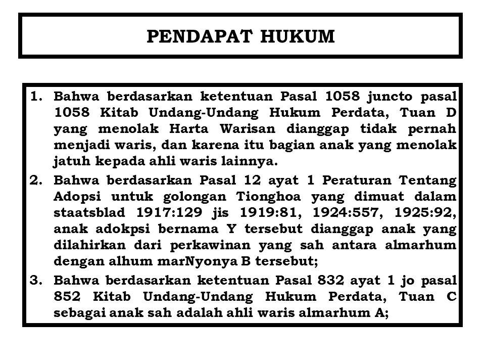PENDAPAT HUKUM 1.Bahwa berdasarkan ketentuan Pasal 1058 juncto pasal 1058 Kitab Undang-Undang Hukum Perdata, Tuan D yang menolak Harta Warisan diangga