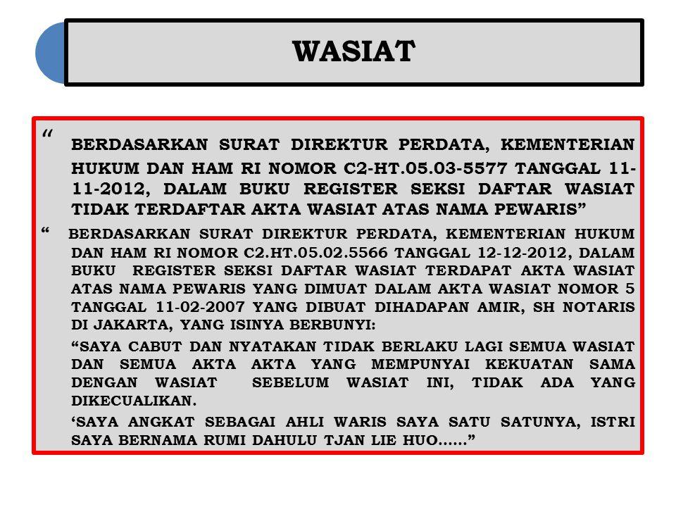 """WASIAT """" BERDASARKAN SURAT DIREKTUR PERDATA, KEMENTERIAN HUKUM DAN HAM RI NOMOR C2-HT.05.03-5577 TANGGAL 11- 11-2012, DALAM BUKU REGISTER SEKSI DAFTAR"""