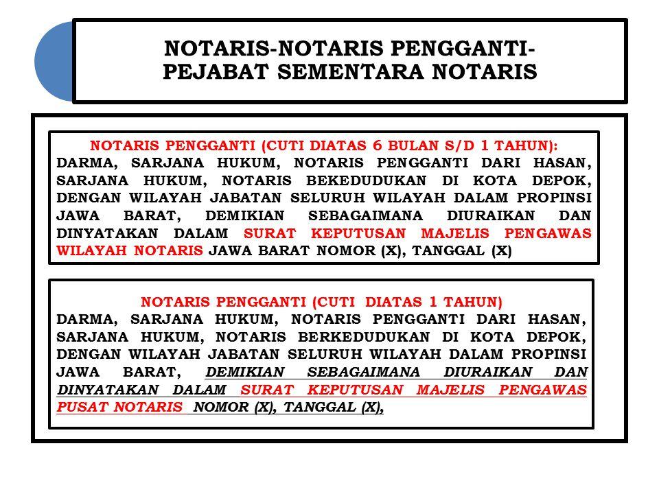 NOTARIS-NOTARIS PENGGANTI- PEJABAT SEMENTARA NOTARIS NOTARIS PENGGANTI (CUTI DIATAS 6 BULAN S/D 1 TAHUN): DARMA, SARJANA HUKUM, NOTARIS PENGGANTI DARI