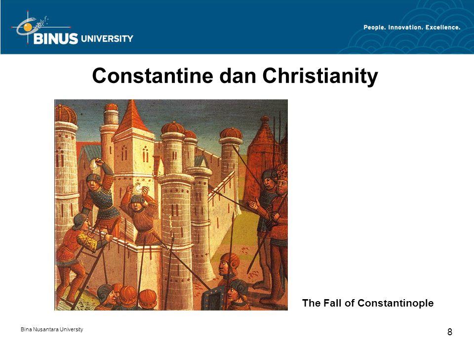 Bina Nusantara University 9 Justinian dan Bizantium Seni Bizantium adalah istilah umum yang digunakan untuk menjelaskan mengenai produk-produk seni yang dihasilkan pada zaman Kerajaan Bizantium dari sekitar abad ke 4 hingga jatuhnya Konstantinopel pada 1453.