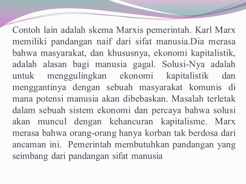 Contoh lain adalah skema Marxis pemerintah. Karl Marx memiliki pandangan naif dari sifat manusia.Dia merasa bahwa masyarakat, dan khususnya, ekonomi k