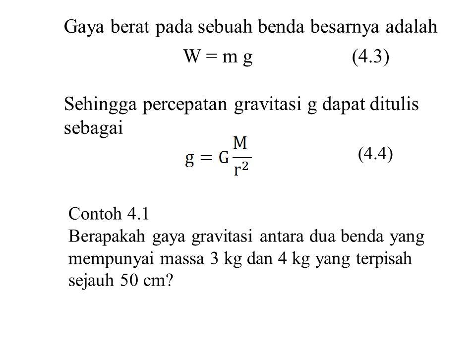 Gaya berat pada sebuah benda besarnya adalah W = m g (4.3) Sehingga percepatan gravitasi g dapat ditulis sebagai (4.4) Contoh 4.1 Berapakah gaya gravi