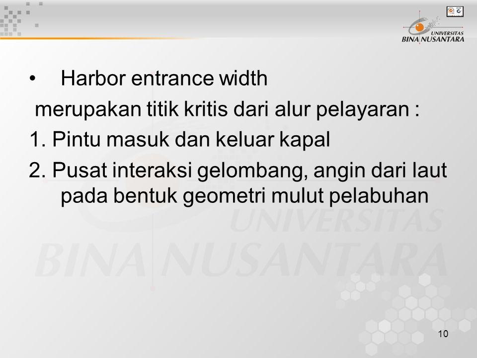10 Harbor entrance width merupakan titik kritis dari alur pelayaran : 1.