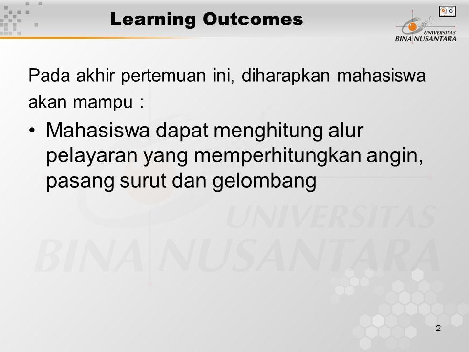 2 Learning Outcomes Pada akhir pertemuan ini, diharapkan mahasiswa akan mampu : Mahasiswa dapat menghitung alur pelayaran yang memperhitungkan angin, pasang surut dan gelombang
