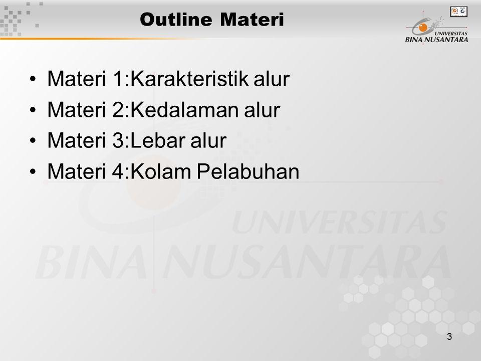 3 Outline Materi Materi 1:Karakteristik alur Materi 2:Kedalaman alur Materi 3:Lebar alur Materi 4:Kolam Pelabuhan