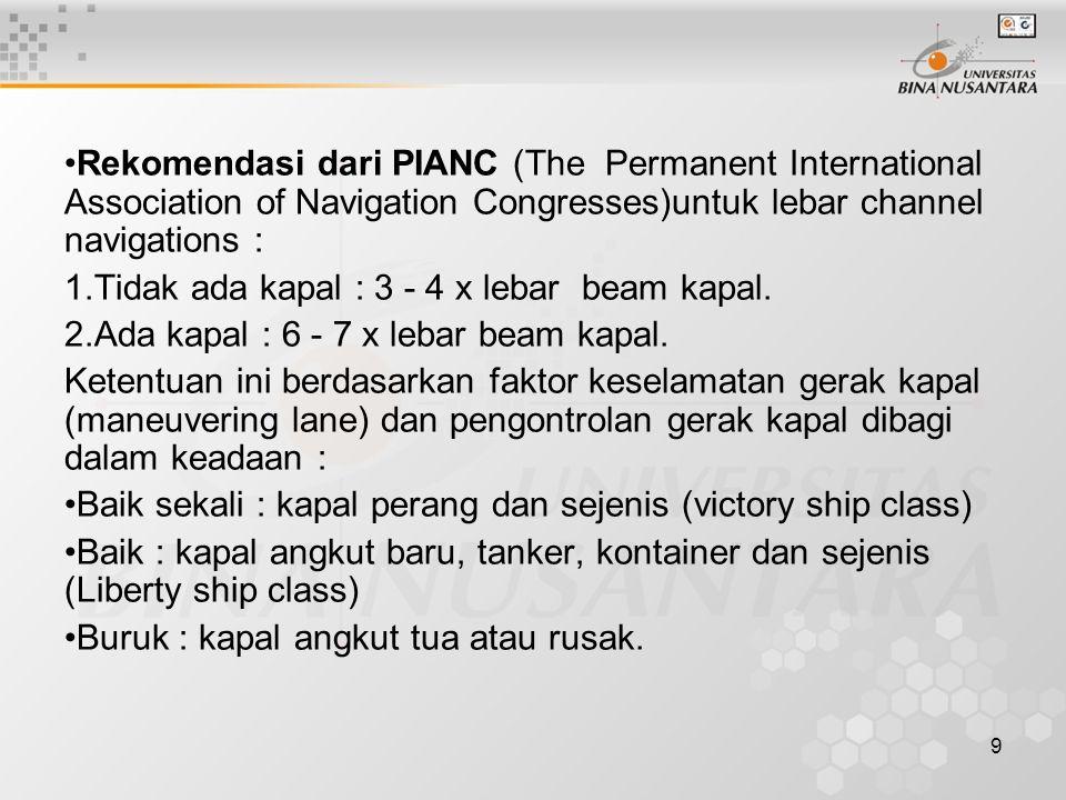 9 Rekomendasi dari PIANC (The Permanent International Association of Navigation Congresses)untuk lebar channel navigations : 1.Tidak ada kapal : 3 - 4 x lebar beam kapal.