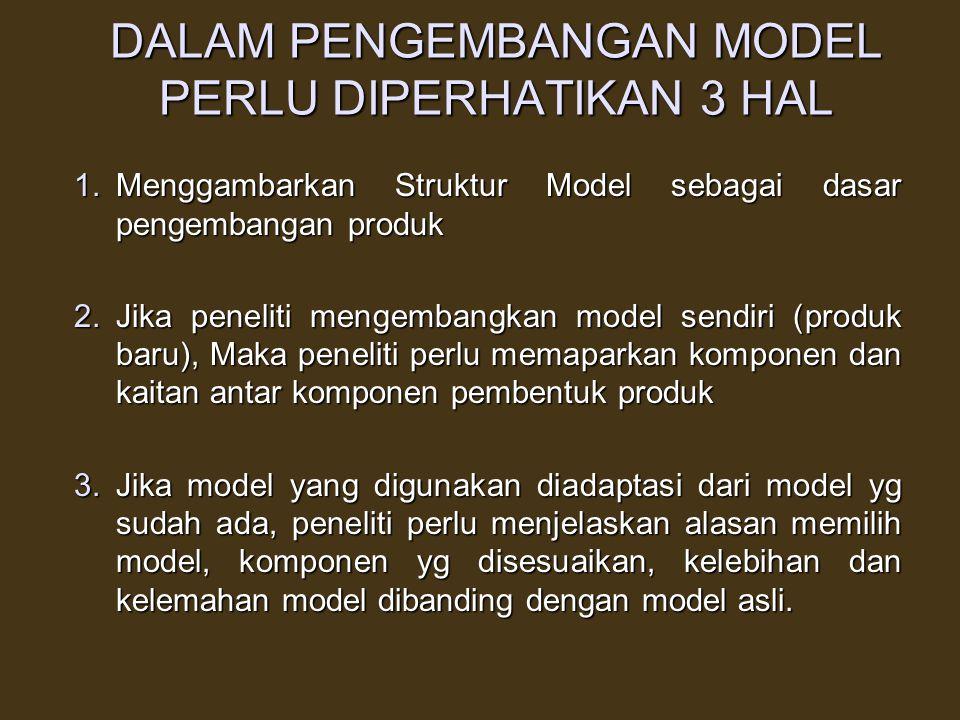 MODEL PENGEMBANGAN 1.Model merupakan dasar unt mengembangkan produk yg digambarkan dlm bentuk Struktur Model 2.Model Prosedural, menunjukkan langkah-l