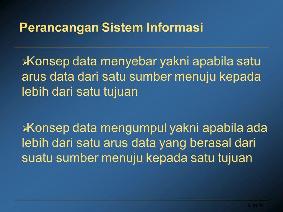 Slide 14 Perancangan Sistem Informasi  Konsep data menyebar yakni apabila satu arus data dari satu sumber menuju kepada lebih dari satu tujuan  Kons
