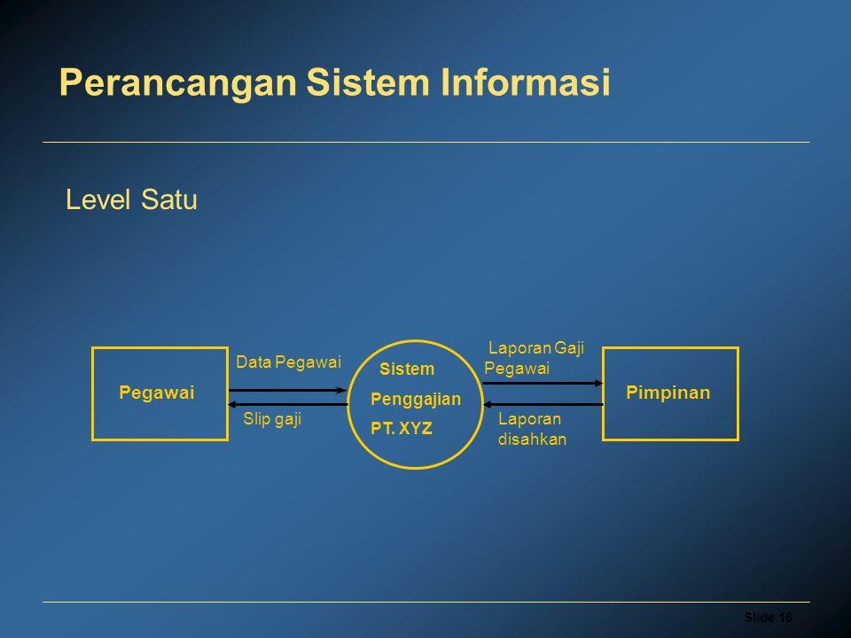Slide 16 Perancangan Sistem Informasi Level Satu Sistem Penggajian PT. XYZ Pegawai Slip gaji Laporan Gaji Pegawai Pimpinan Data Pegawai Laporan disahk