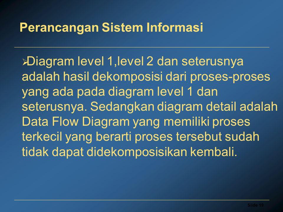 Slide 19 Perancangan Sistem Informasi  Diagram level 1,level 2 dan seterusnya adalah hasil dekomposisi dari proses-proses yang ada pada diagram level