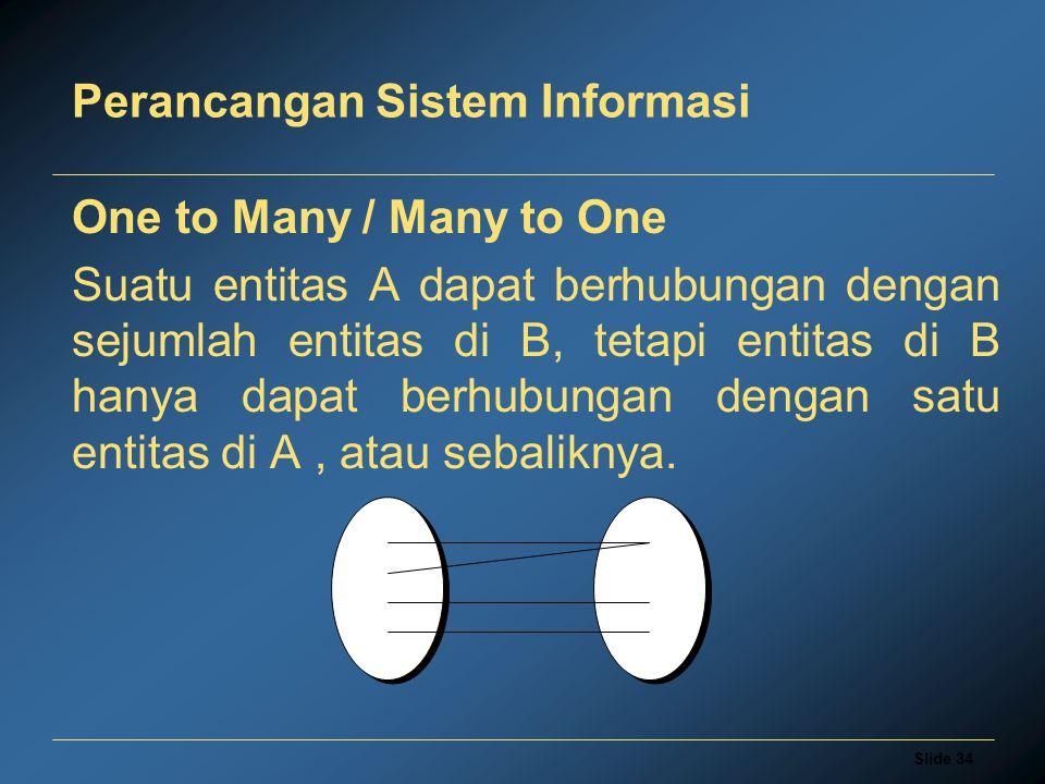 Slide 34 Perancangan Sistem Informasi One to Many / Many to One Suatu entitas A dapat berhubungan dengan sejumlah entitas di B, tetapi entitas di B ha