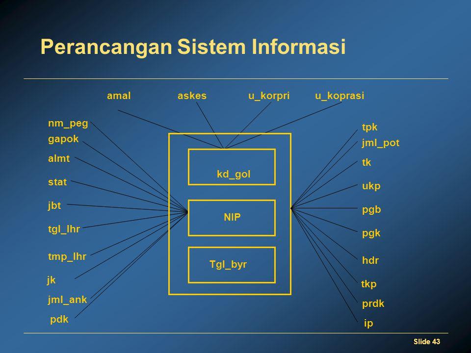 Slide 43 Perancangan Sistem Informasi Tgl_byr gapok stat nm_peg almt jbt tgl_lhr tmp_lhr jk jml_ank pdk NIP u_koprasiamalaskesu_korpri kd_gol jml_pot