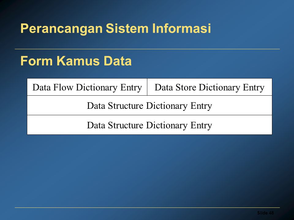 Slide 48 Perancangan Sistem Informasi Form Kamus Data Data Flow Dictionary EntryData Store Dictionary Entry Data Structure Dictionary Entry