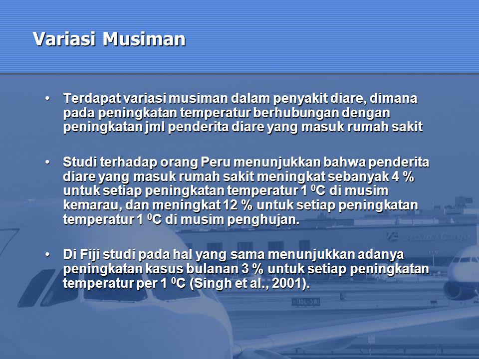 Variasi Musiman Terdapat variasi musiman dalam penyakit diare, dimana pada peningkatan temperatur berhubungan dengan peningkatan jml penderita diare y