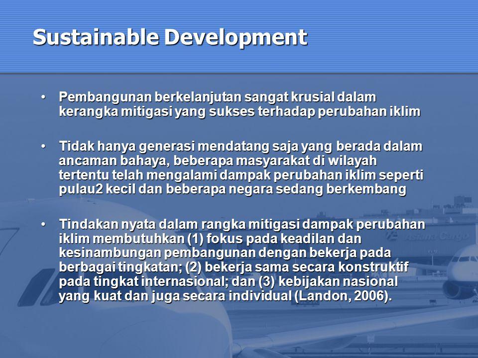 Sustainable Development Pembangunan berkelanjutan sangat krusial dalam kerangka mitigasi yang sukses terhadap perubahan iklimPembangunan berkelanjutan