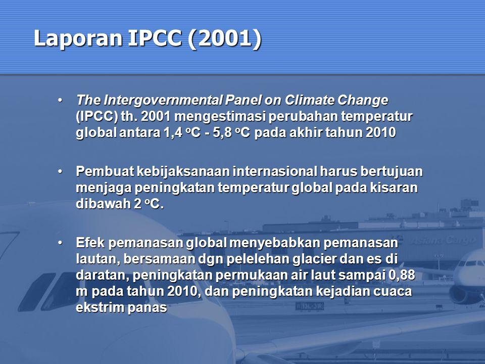 Laporan IPCC (2001) The Intergovernmental Panel on Climate Change (IPCC) th. 2001 mengestimasi perubahan temperatur global antara 1,4 o C - 5,8 o C pa