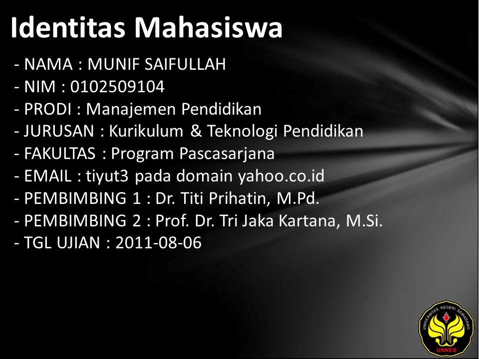Identitas Mahasiswa - NAMA : MUNIF SAIFULLAH - NIM : 0102509104 - PRODI : Manajemen Pendidikan - JURUSAN : Kurikulum & Teknologi Pendidikan - FAKULTAS