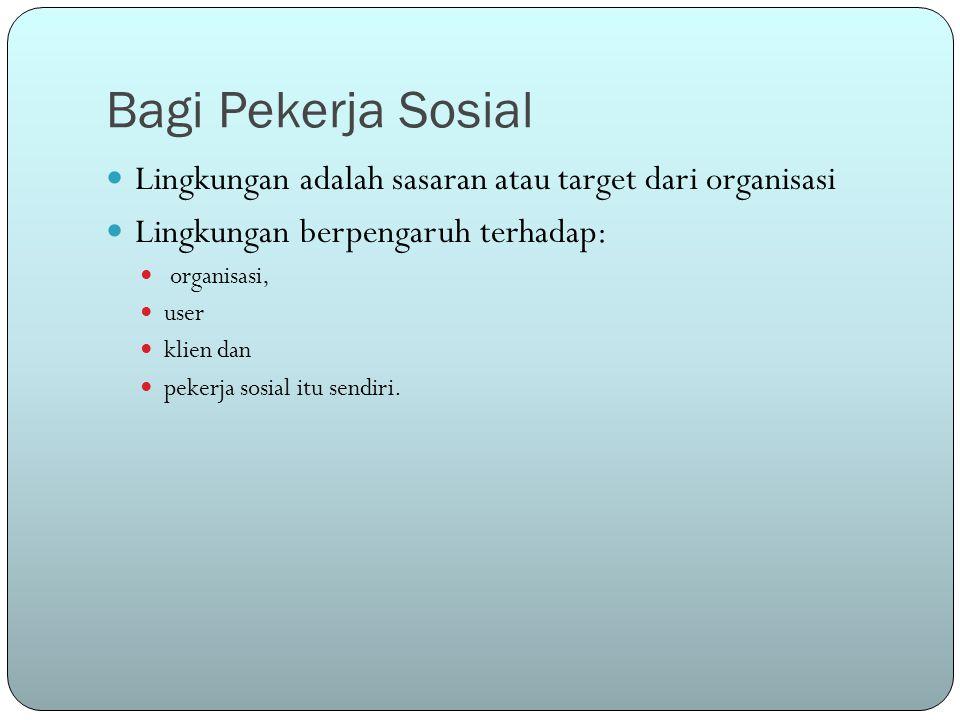 Bagi Pekerja Sosial Lingkungan adalah sasaran atau target dari organisasi Lingkungan berpengaruh terhadap: organisasi, user klien dan pekerja sosial itu sendiri.