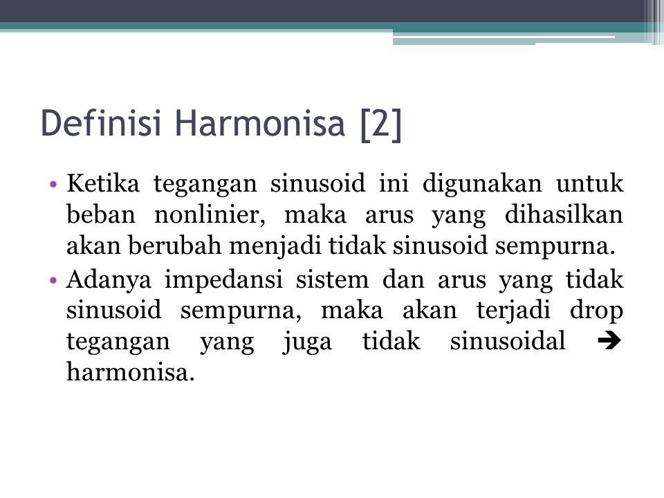 Definisi Harmonisa [2] Ketika tegangan sinusoid ini digunakan untuk beban nonlinier, maka arus yang dihasilkan akan berubah menjadi tidak sinusoid sem