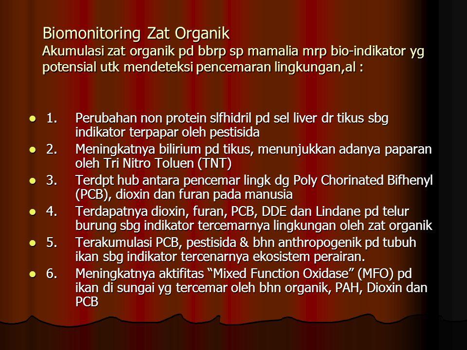 Biomonitoring Zat Organik Akumulasi zat organik pd bbrp sp mamalia mrp bio-indikator yg potensial utk mendeteksi pencemaran lingkungan,al : 1. Perubah