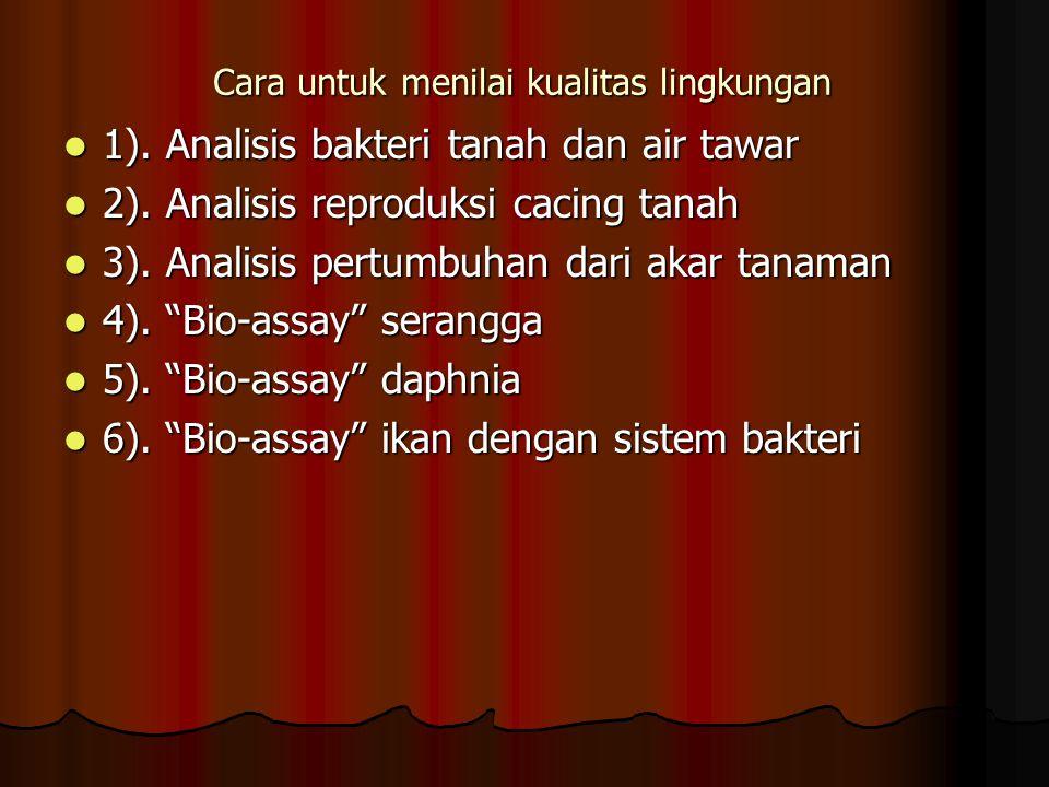 Cara untuk menilai kualitas lingkungan 1). Analisis bakteri tanah dan air tawar 1). Analisis bakteri tanah dan air tawar 2). Analisis reproduksi cacin