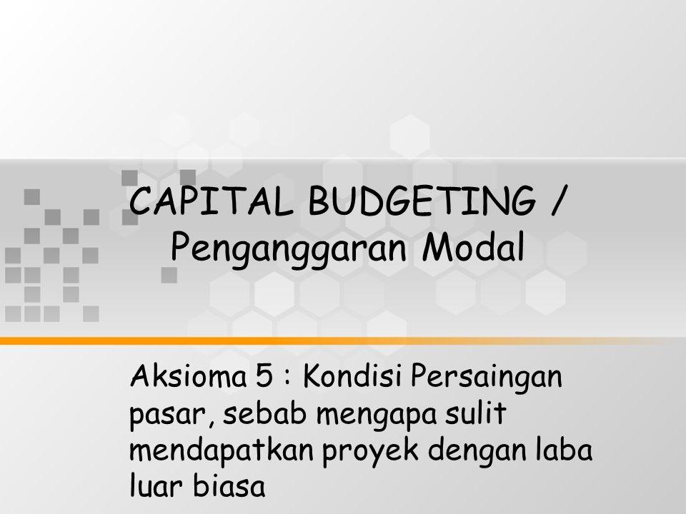 CAPITAL BUDGETING / Penganggaran Modal Aksioma 5 : Kondisi Persaingan pasar, sebab mengapa sulit mendapatkan proyek dengan laba luar biasa