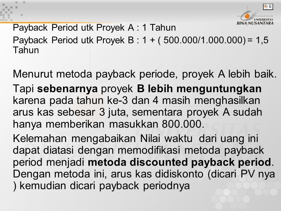 Payback Period utk Proyek A : 1 Tahun Payback Period utk Proyek B : 1 + ( 500.000/1.000.000) = 1,5 Tahun Menurut metoda payback periode, proyek A lebi